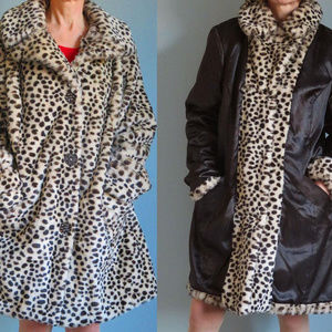 east 5th Faux Fur Animal print Coat L beige Black
